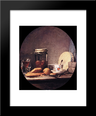 Still Life With Jar Of Apricots: Modern Black Framed Art Print by Jean Baptiste Simeon Chardin