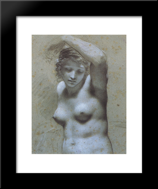 Half-Length Female Nude: Modern Black Framed Art Print by Pierre Paul Prud'hon