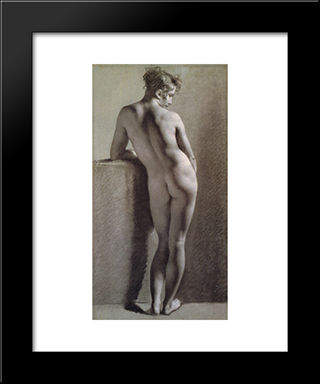 Standing Female Nude Seen From The Back: Modern Black Framed Art Print by Pierre Paul Prud'hon