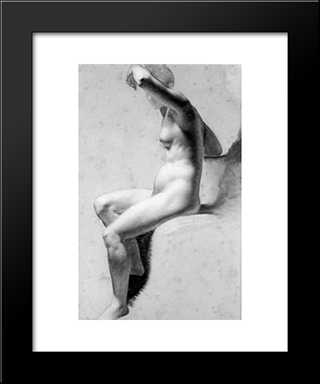 Female Nude Raising Her Arm: Modern Black Framed Art Print by Pierre Paul Prud'hon