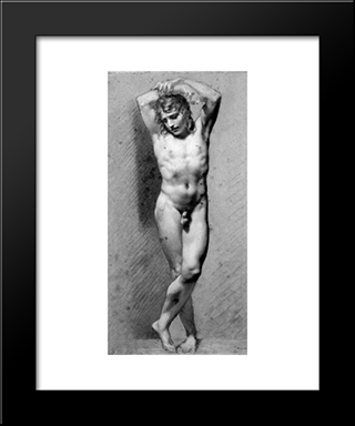 Male Nude Standing: Modern Black Framed Art Print by Pierre Paul Prud'hon
