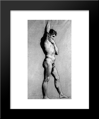 Male Nude Pontificating: Modern Black Framed Art Print by Pierre Paul Prud'hon