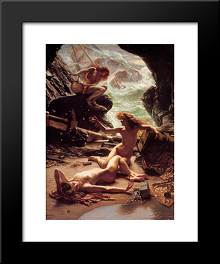The Cave Of The Storm Nymphs: Modern Black Framed Art Print by Edward John Poynter