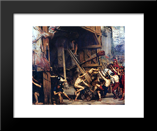 The Catapault: Modern Black Framed Art Print by Edward John Poynter