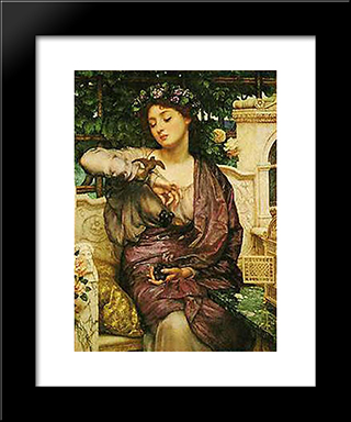 Lesbia And Her Sparrow: Modern Black Framed Art Print by Edward John Poynter