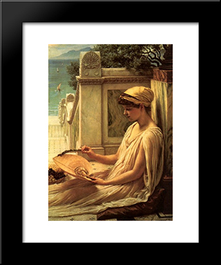 On The Terrace: Modern Black Framed Art Print by Edward John Poynter