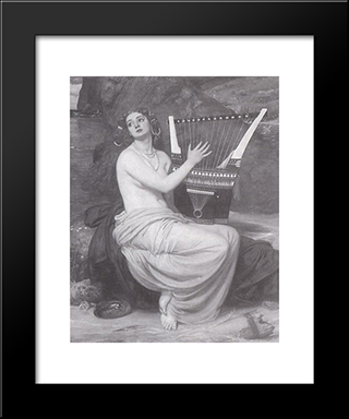 The Siren: Modern Black Framed Art Print by Edward John Poynter