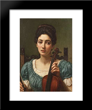 The Violinist: Modern Black Framed Art Print by Edward John Poynter