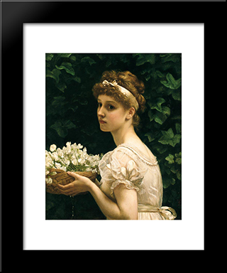 Pea Blossoms: Modern Black Framed Art Print by Edward John Poynter