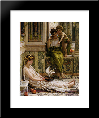A Corner Of The Villa: Modern Black Framed Art Print by Edward John Poynter