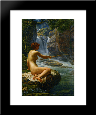 The Nymph Of The Stream: Modern Black Framed Art Print by Edward John Poynter