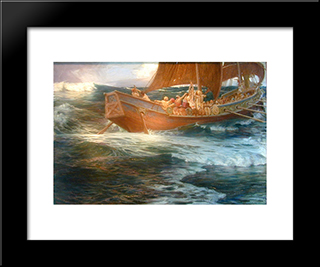 Wrath Of The Sea God: Modern Black Framed Art Print by Herbert James Draper