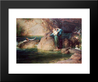 Halcyone: Modern Black Framed Art Print by Herbert James Draper