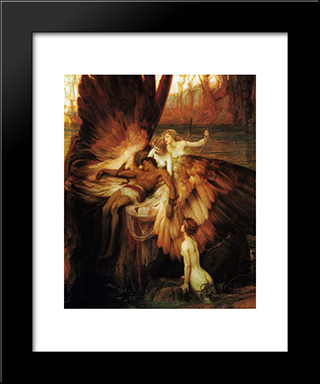 Lament For Icarus: Modern Black Framed Art Print by Herbert James Draper
