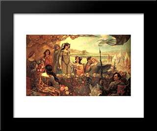 Lancelot And Guinevere: Modern Black Framed Art Print by Herbert James Draper