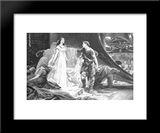 Tristan And Isolde: Modern Black Framed Art Print by Herbert James Draper