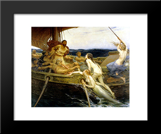 Ulysses And The Sirens: Modern Black Framed Art Print by Herbert James Draper