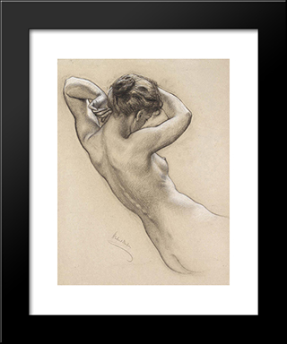 Study Of Florrie Bird For A Water Nymph In 'Prospero Summoning Nymphs And Deities': Modern Black Framed Art Print by Herbert James Draper