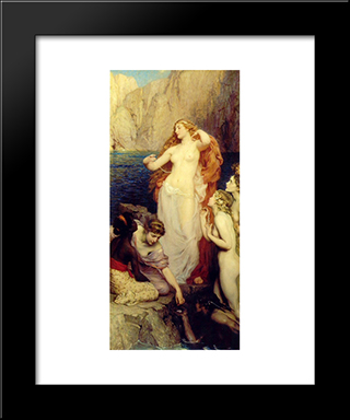 The Pearls Of Aphrodite: Modern Black Framed Art Print by Herbert James Draper