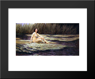 The Water Nymph: Modern Black Framed Art Print by Herbert James Draper
