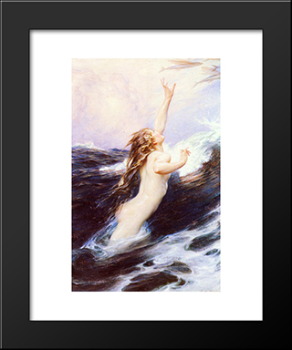 Flying Fish: Modern Black Framed Art Print by Herbert James Draper