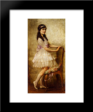 Portrait Of Miss Barbara De Selincourt: Modern Black Framed Art Print by Herbert James Draper