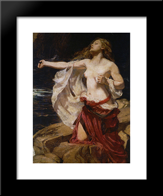 Ariadne: Modern Black Framed Art Print by Herbert James Draper
