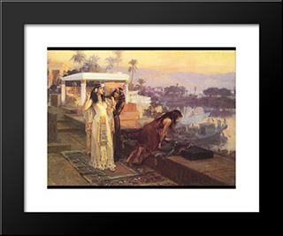 Cleopatra On The Terraces Of Philae: Modern Black Framed Art Print by Frederick Arthur Bridgman