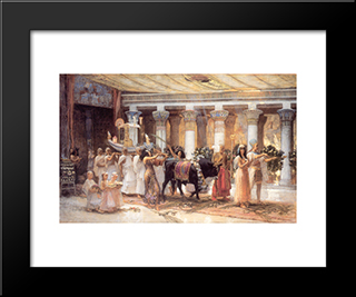 The Procession Of The Sacred Bull Anubis: Modern Black Framed Art Print by Frederick Arthur Bridgman