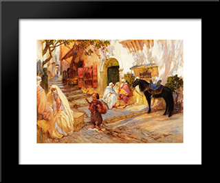 A Street In Algeria: Modern Black Framed Art Print by Frederick Arthur Bridgman