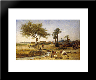 An Arab Village: Modern Black Framed Art Print by Frederick Arthur Bridgman
