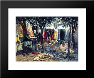 Idle Moments: An Arab Courtyard: Modern Black Framed Art Print by Frederick Arthur Bridgman