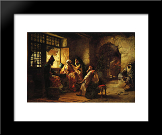 An Interesting Game: Modern Black Framed Art Print by Frederick Arthur Bridgman