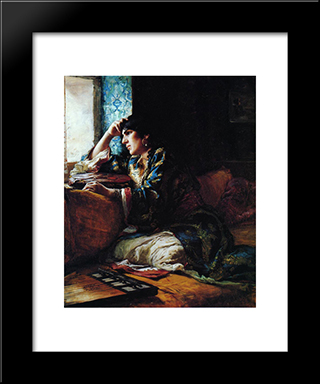 Aicha, A Woman Of Morocco: Modern Black Framed Art Print by Frederick Arthur Bridgman