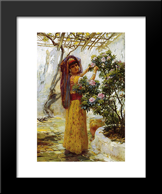 In The Courtyard: Modern Black Framed Art Print by Frederick Arthur Bridgman