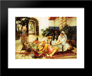 In A Village, El Biar, Algeria: Modern Black Framed Art Print by Frederick Arthur Bridgman