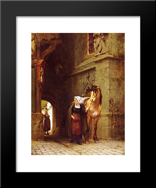 Leading The Horse From Stable: Modern Black Framed Art Print by Frederick Arthur Bridgman