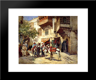 Marketplace In North Africa: Modern Black Framed Art Print by Frederick Arthur Bridgman
