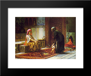 Mother And Child: Modern Black Framed Art Print by Frederick Arthur Bridgman