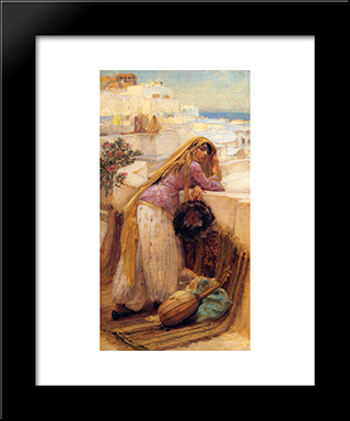 On The Terrace: Modern Black Framed Art Print by Frederick Arthur Bridgman