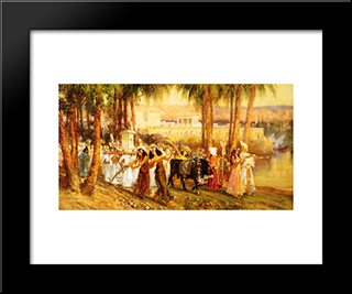 Procession In Honor Of Isis: Modern Black Framed Art Print by Frederick Arthur Bridgman