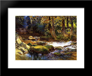 River Landscape With Deer: Modern Black Framed Art Print by Frederick Arthur Bridgman