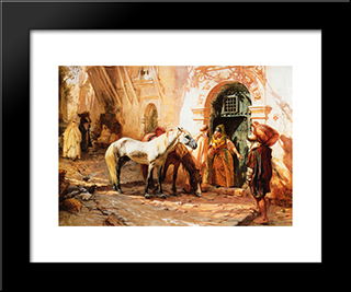 Scene In Morocco: Modern Black Framed Art Print by Frederick Arthur Bridgman