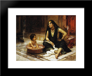 The Bathing Cove: Modern Black Framed Art Print by Frederick Arthur Bridgman