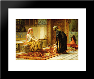 The First Steps: Modern Black Framed Art Print by Frederick Arthur Bridgman