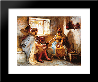 The Game Of Chance: Modern Black Framed Art Print by Frederick Arthur Bridgman