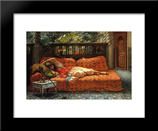 The Siesta: Modern Black Framed Art Print by Frederick Arthur Bridgman