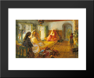 In The Seraglio: Modern Black Framed Art Print by Frederick Arthur Bridgman