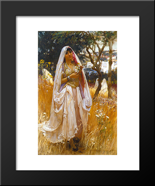 La Jeune Mauresque: Modern Black Framed Art Print by Frederick Arthur Bridgman