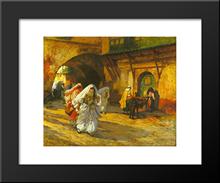 In The Souk: Modern Black Framed Art Print by Frederick Arthur Bridgman